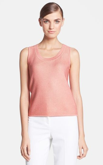 St. John Collection Scoop Neck Metallic Knit Shell - Lyst