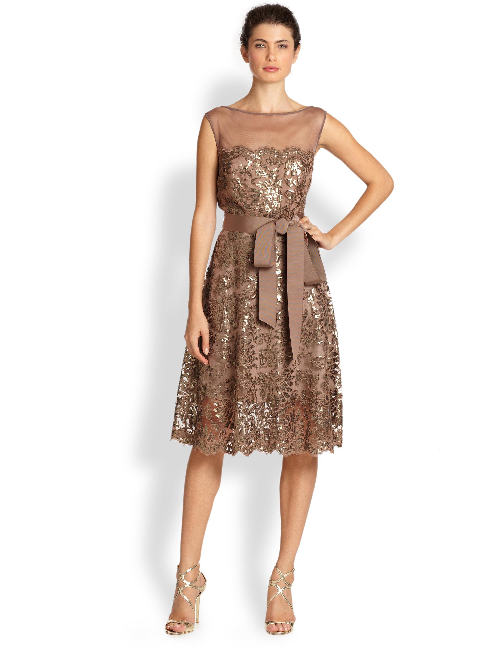 Tadashi shoji Belted Sequin Dress in Brown | Lyst