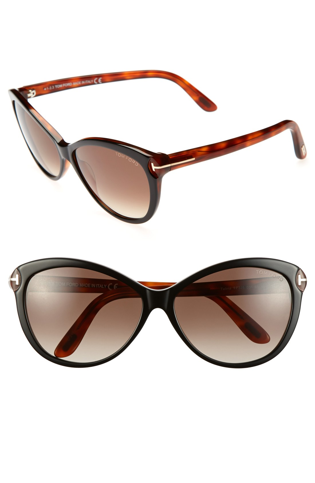 tom ford 39 telma 39 60mm cat eye sunglasses shiny black havana in. Cars Review. Best American Auto & Cars Review