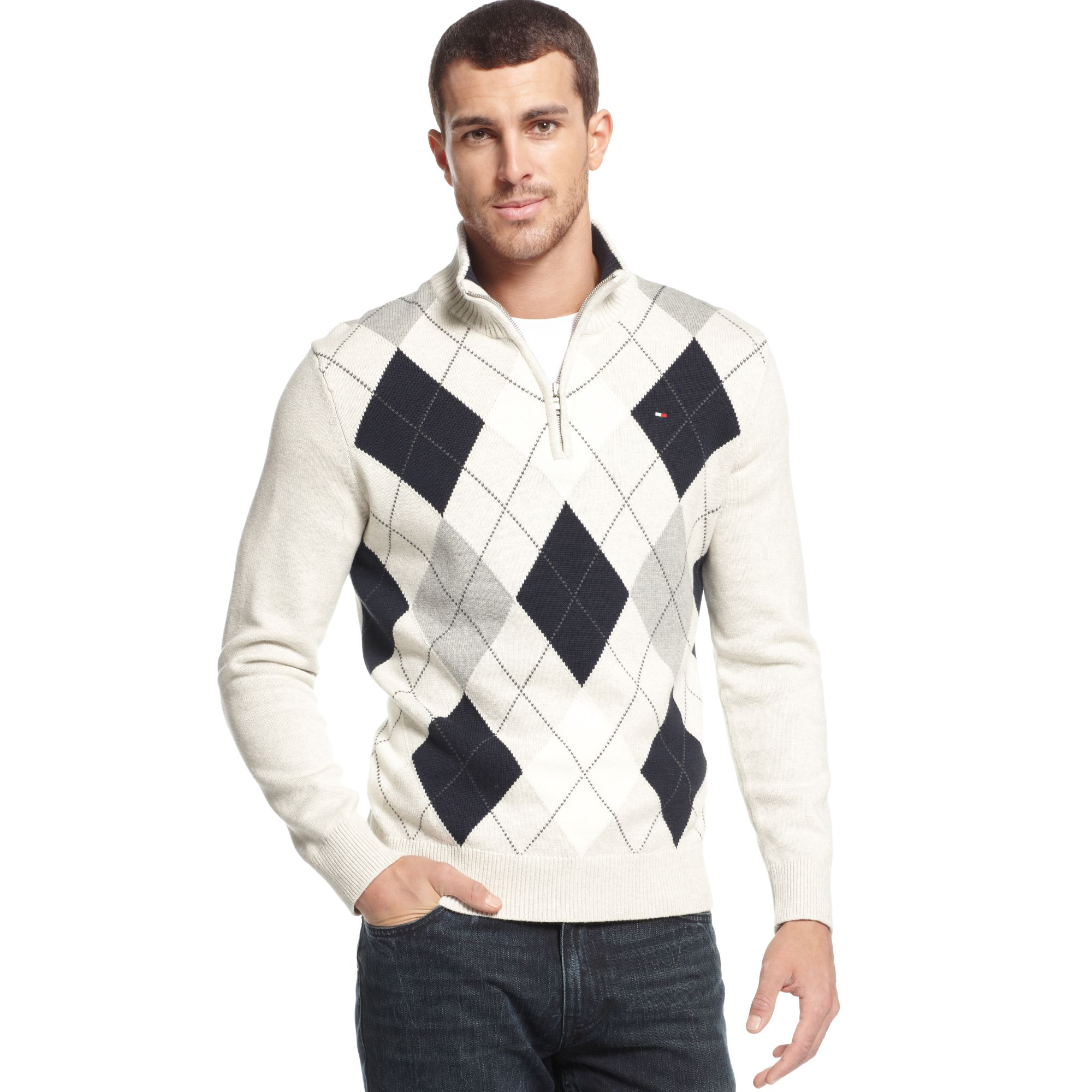 Lyst Tommy Hilfiger Jackson Argyle Sweater In Natural For Men