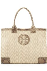 Tory Burch Ella Snakeprinttrim Tote Bag Natural - Lyst