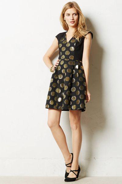 Black and gold jacquard dress