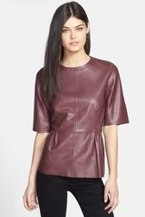 Trouvé Trouvé Leather Peplum Top - Lyst