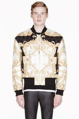 Versace Black and Gold Silk Quilted Bomber Jacket - Lyst
