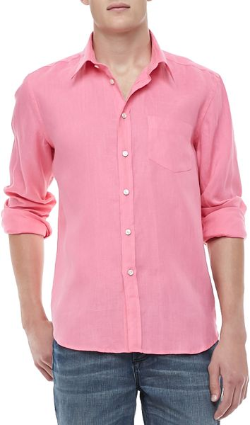 Plain linen shirts with an extra surprise of printed pink and white linen under the collar and inside the cuffs. Only seen if you want to show it! % linen long sleeved shirt with a tailored yet comfortable fit.