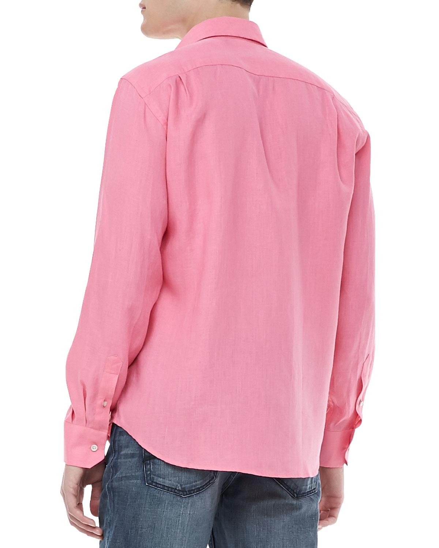 Lyst vilebrequin linen long sleeve shirt in pink for men for Mens pink long sleeve shirt