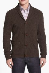 Wallin & Bros. Shawl Collar Cable Knit Cardigan - Lyst