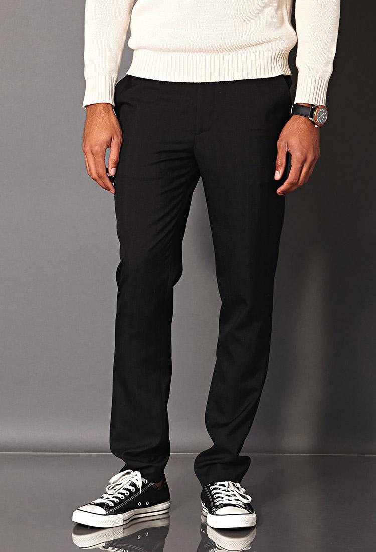 Lyst Forever 21 Striped Dress Pants In Black For Men