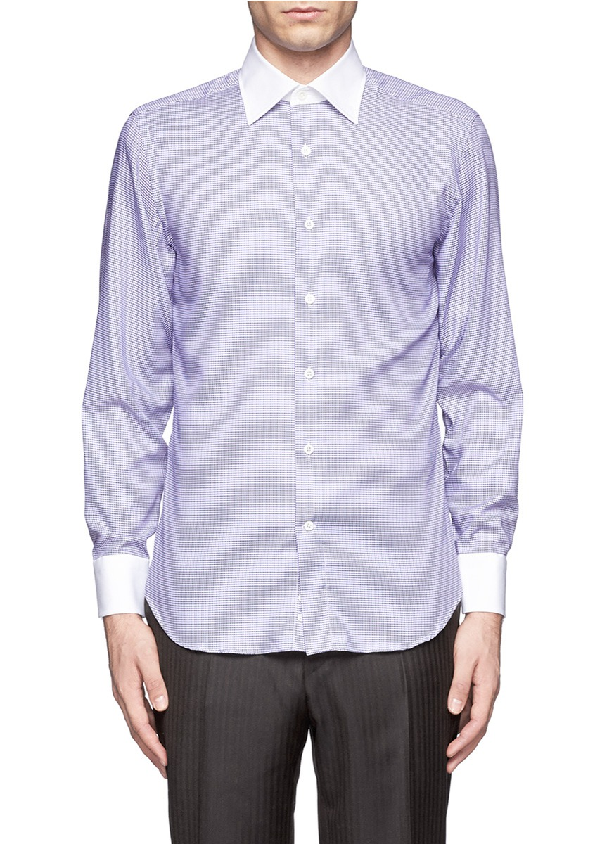 Lyst canali contrast collar and cuffs houndstooth shirt for Mens dress shirts with contrasting collars and cuffs