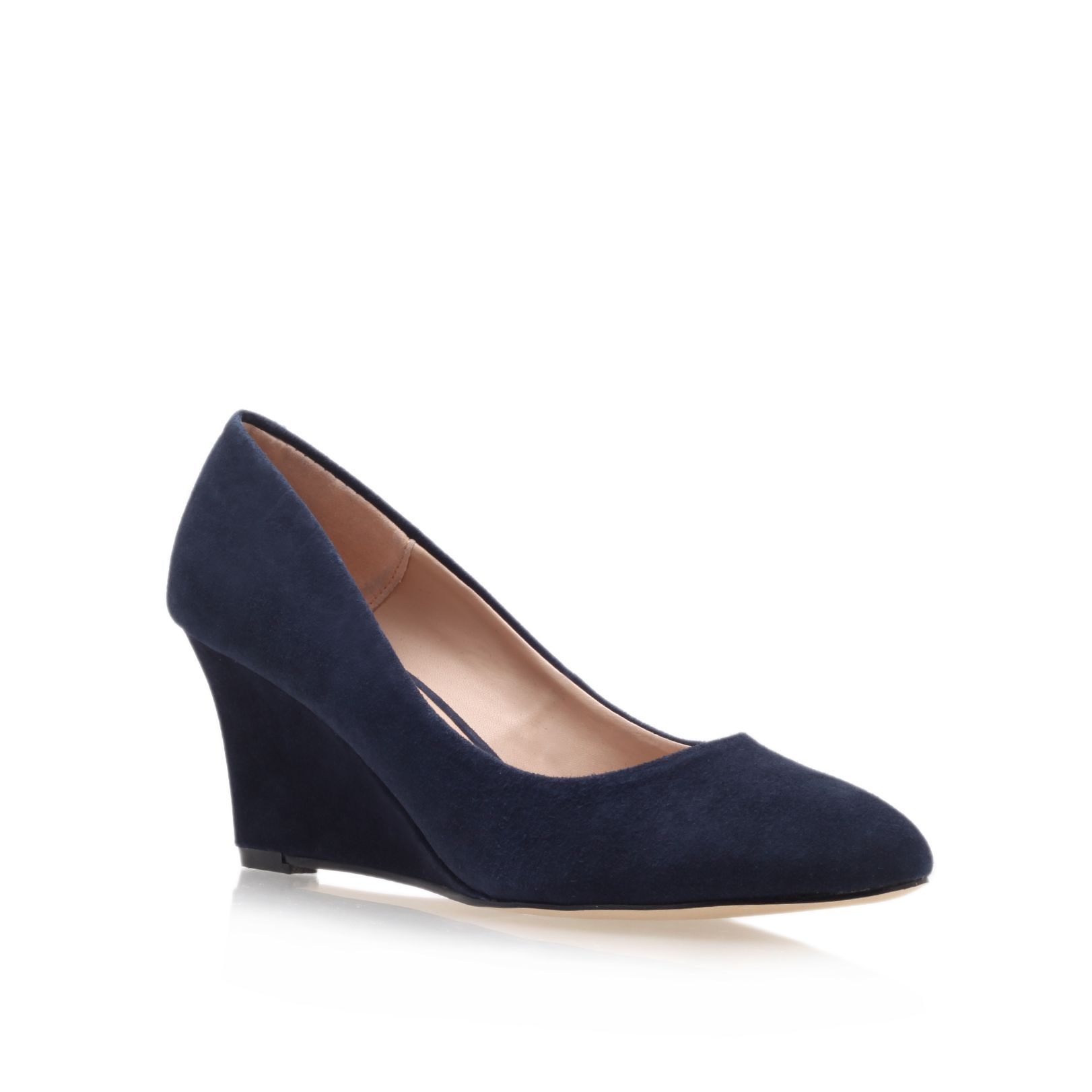 Navy Blue Wedge Heel Shoes - Boot Hto