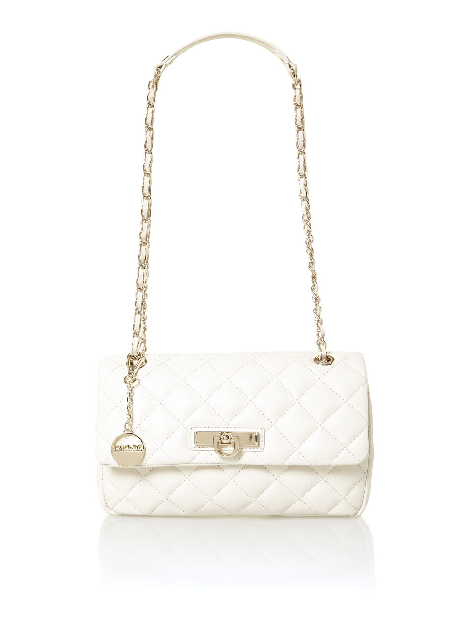 Dkny Quilted Neutral Shoulder Bag in White | Lyst