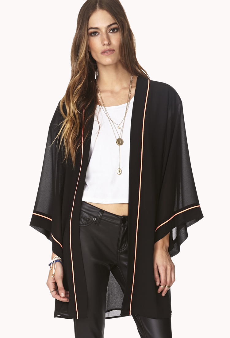 Forever 21 Vibrant Embroidered Floral Kimono in Black ...