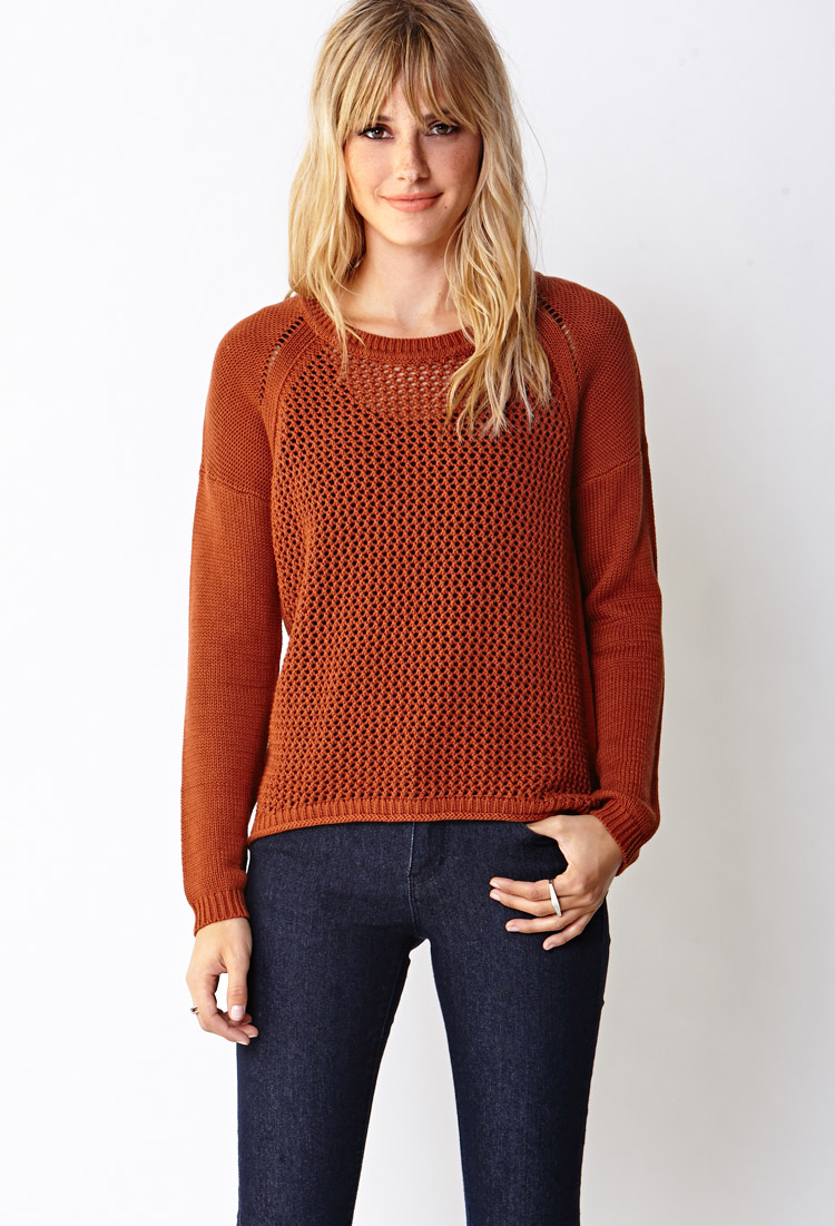 Forever 21 Easy Open-knit Sweater in Brown | Lyst