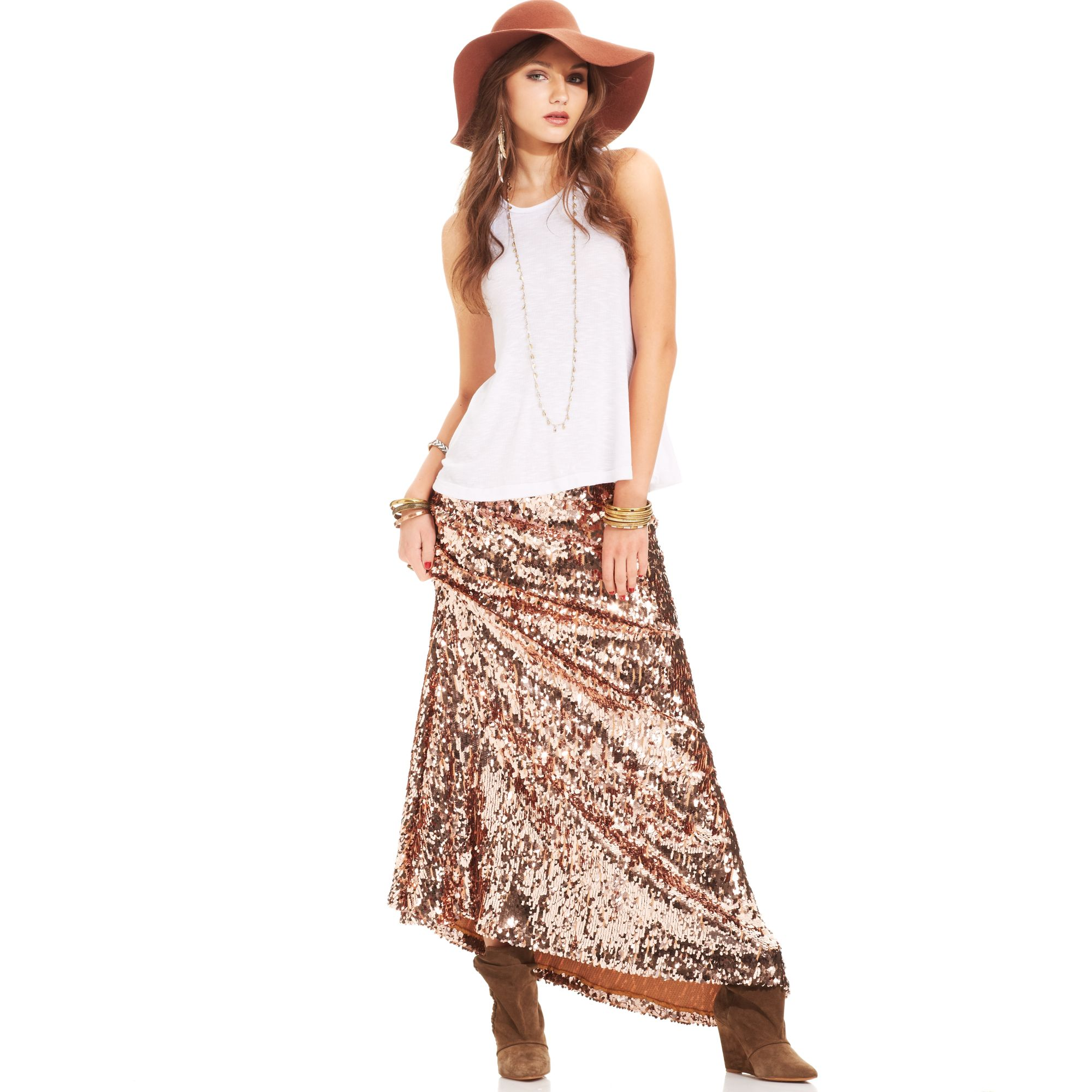 free sequin a line maxi skirt in multicolor