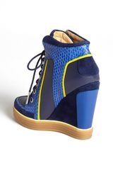 L.a.m.b. Summer High Top Wedge Sneaker in Blue (Blue/ Yellow) - Lyst