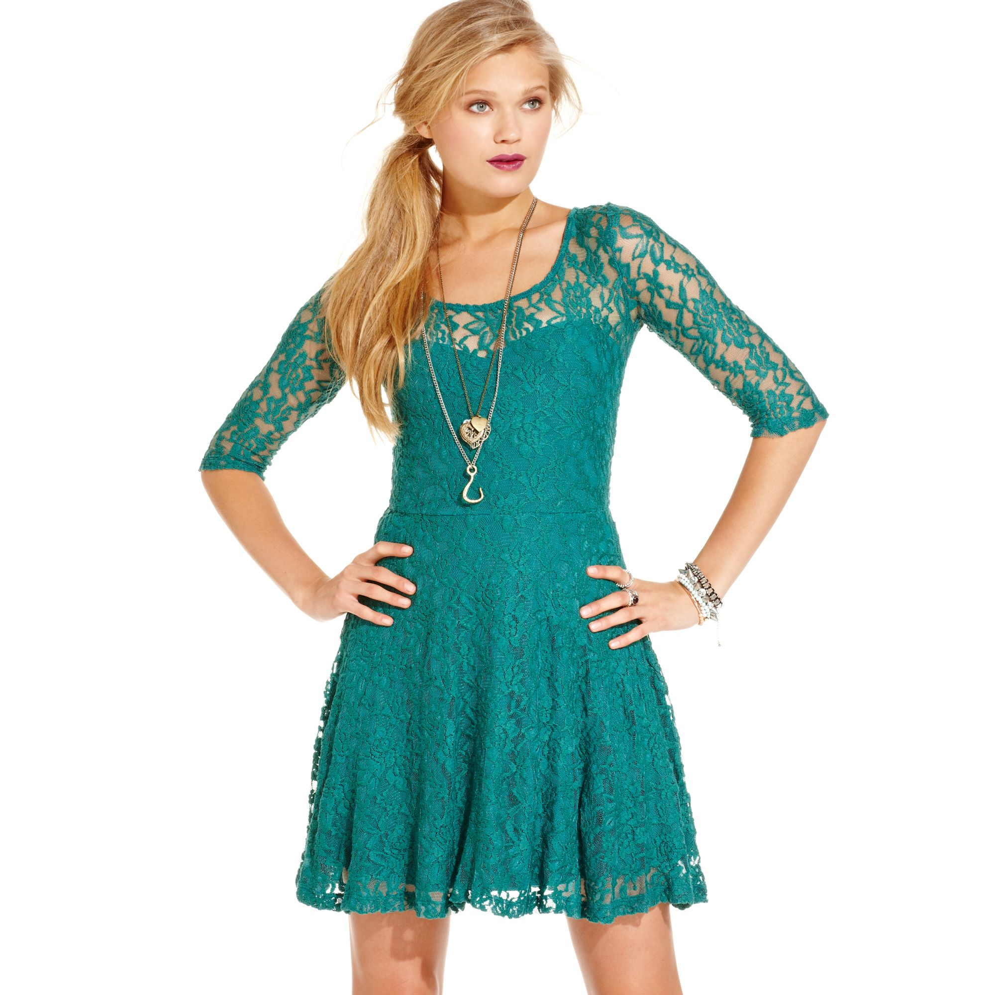 Lyst - Material Girl Lace Skater Dress in Green