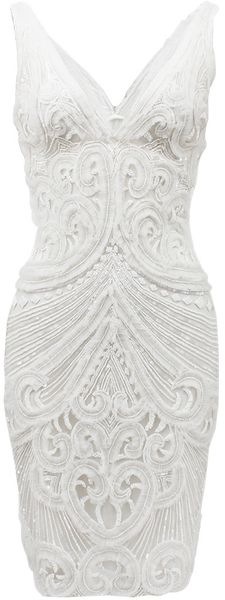 Naeem Khan Sleeveless Vfront Caviar Bead Dress - Lyst