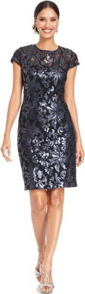Patra Capsleeve Illusion Sequin Sheath - Lyst