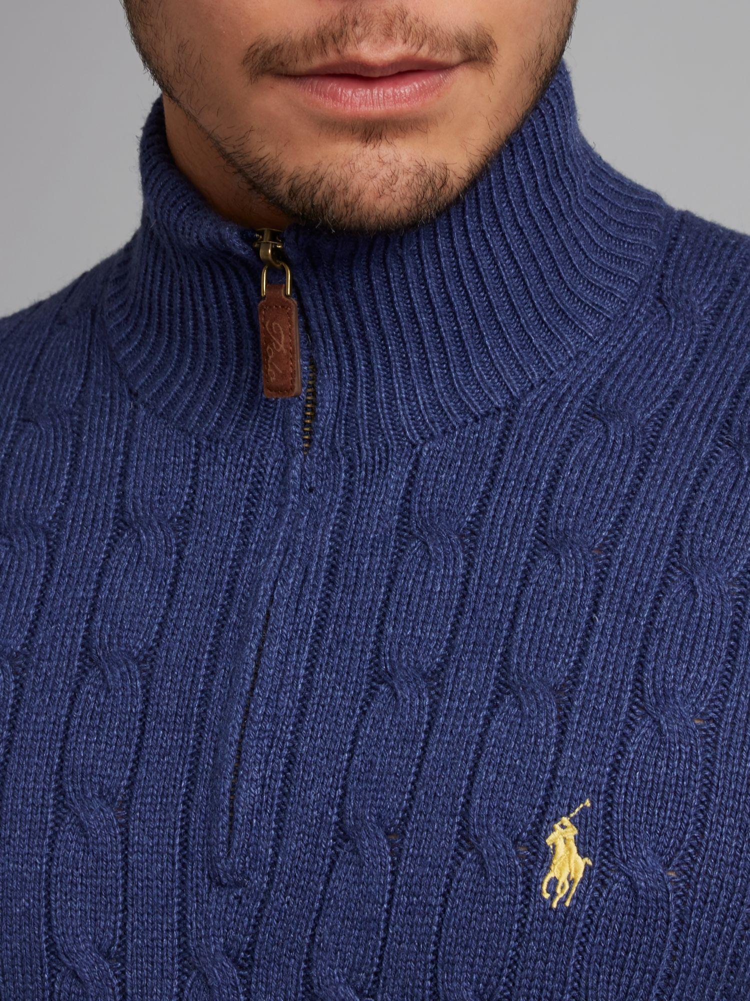 Polo ralph lauren Cable Knit Half Zip Jumper in Blue for Men | Lyst