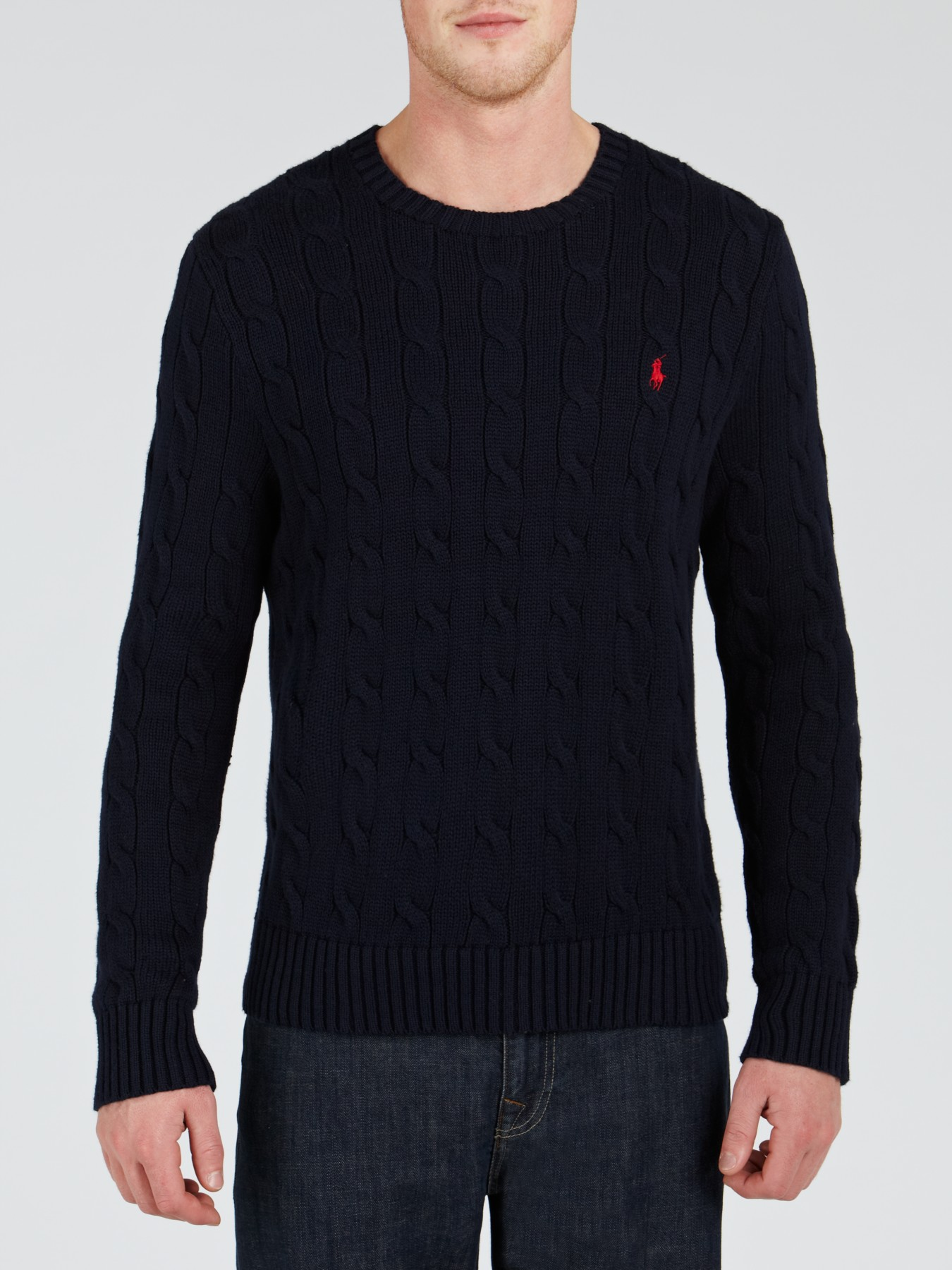 1d9db190c4f1 Polo Ralph Lauren Cotton Cable Knit Jumper in Blue for Men - Lyst