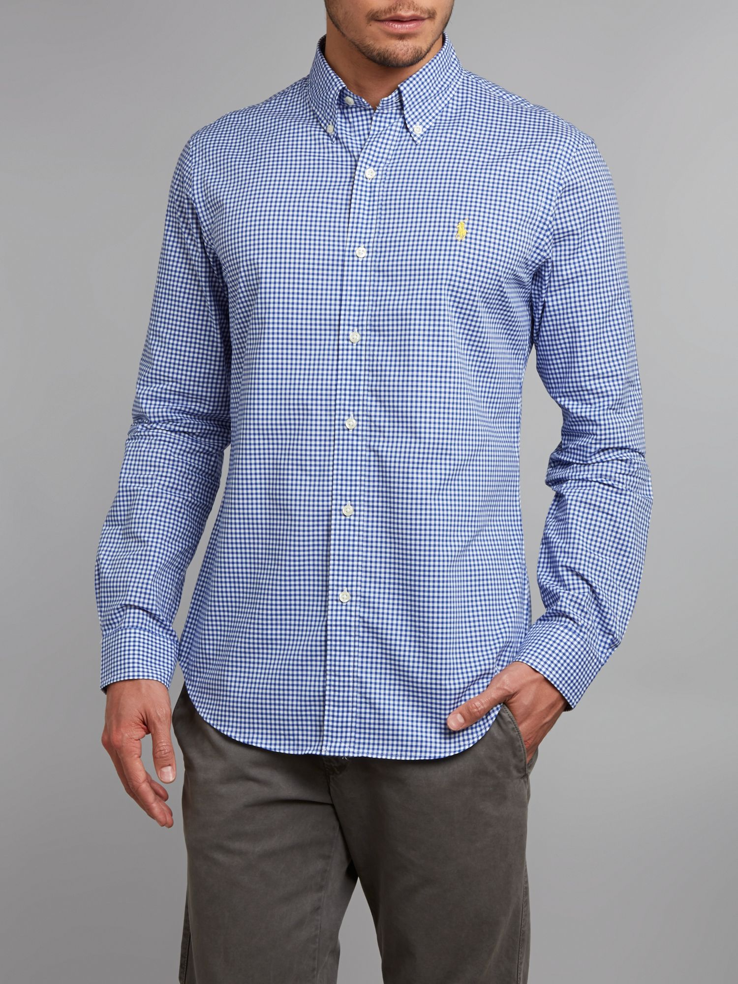 Polo Ralph Lauren Slim Fit Gingham Check Shirt In Blue For