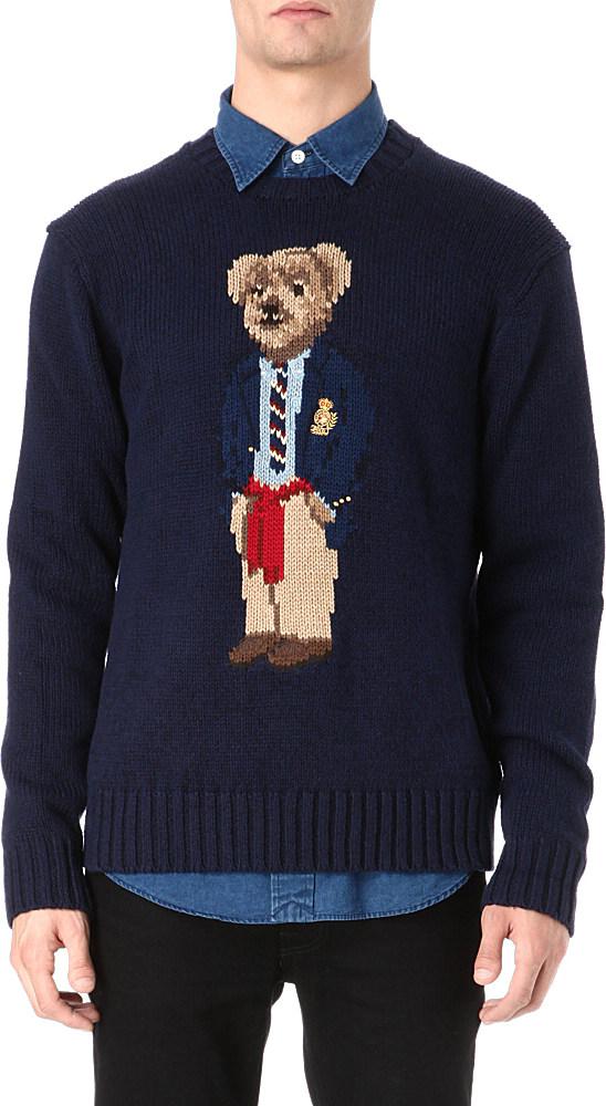 Ralph Lauren Teddy Bear Motif Knitted Jumper In Blue For