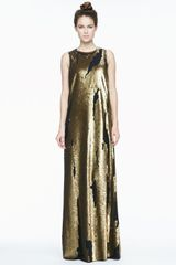 Robert Rodriguez Distressed Sequined Silk Gown - Lyst