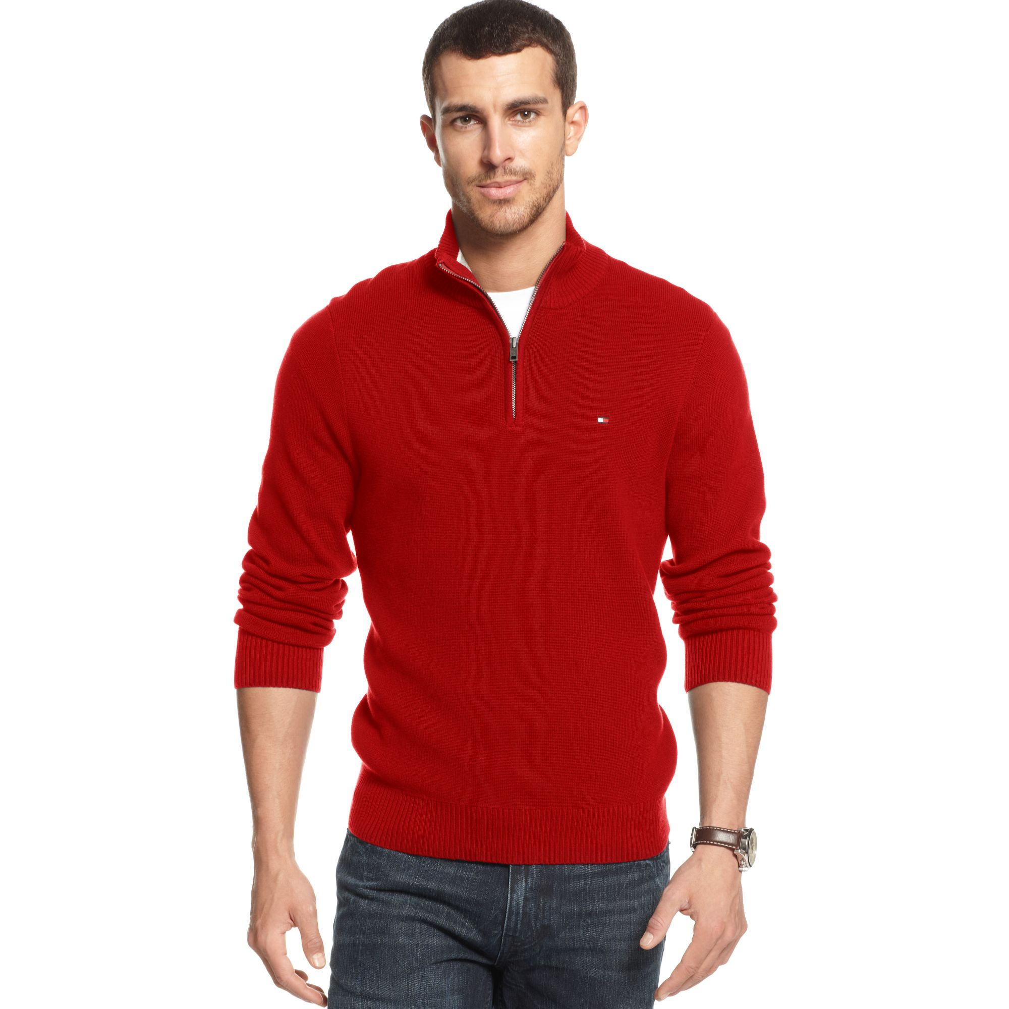 Tommy hilfiger Adam Quarter Zip Sweater in Red for Men | Lyst