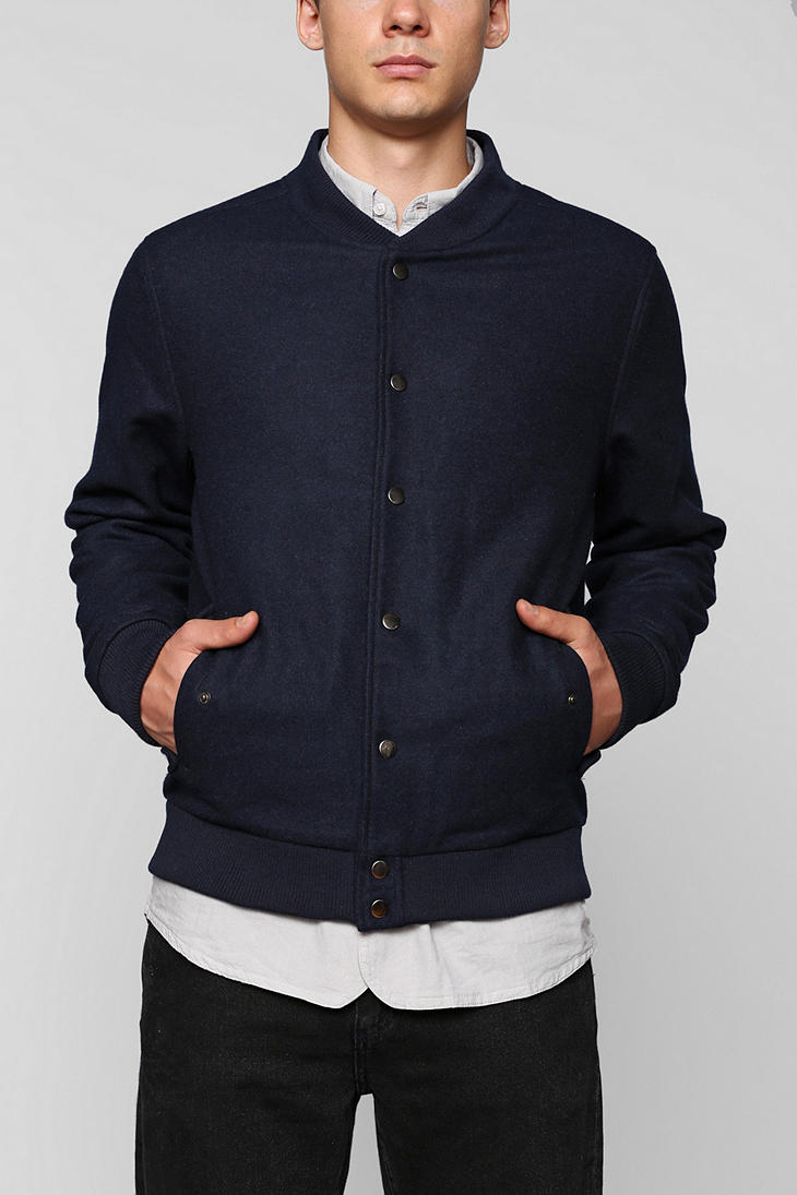 Urban outfitters The Narrows Baseball Jacket in Blue | Lyst