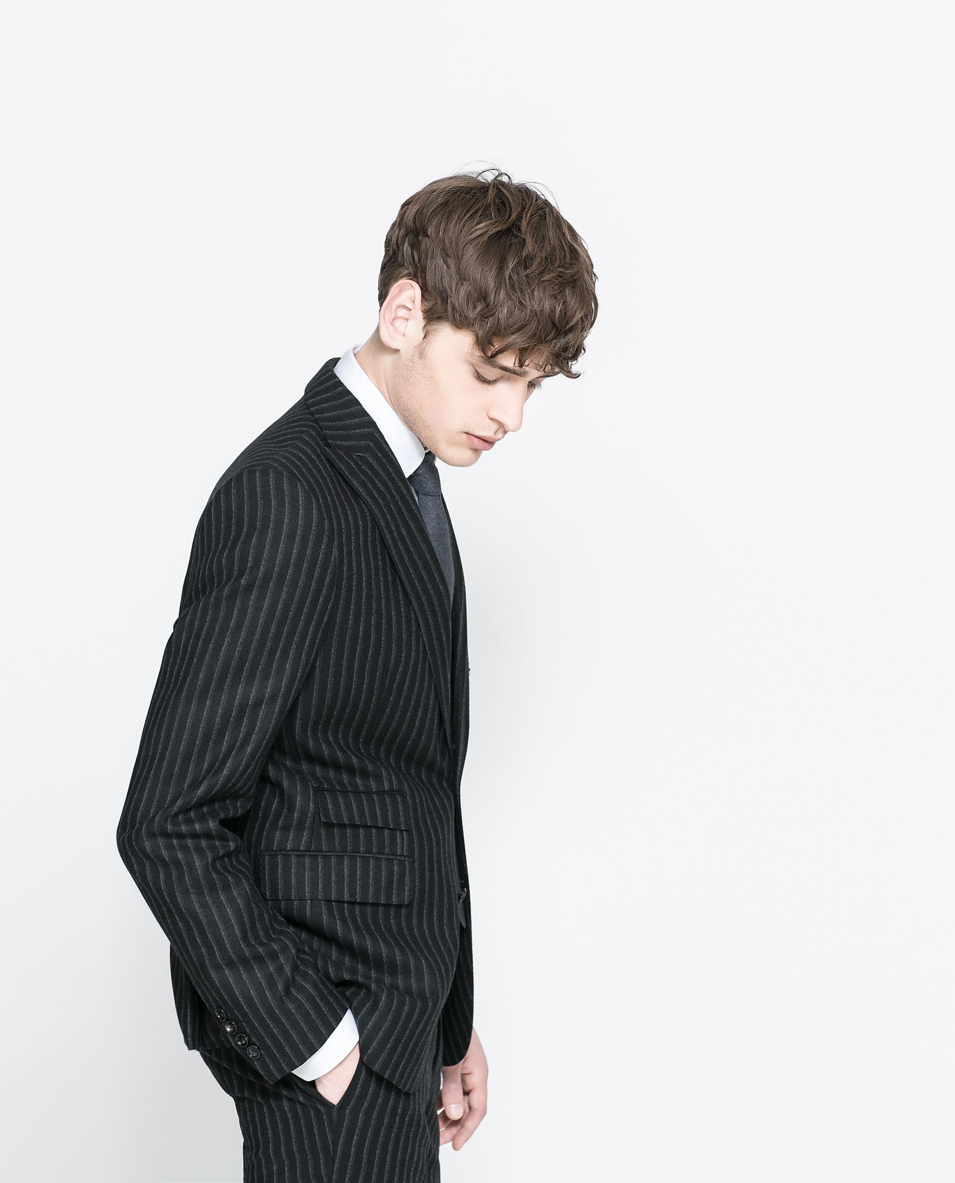 zara striped blazer in black for men lyst. Black Bedroom Furniture Sets. Home Design Ideas