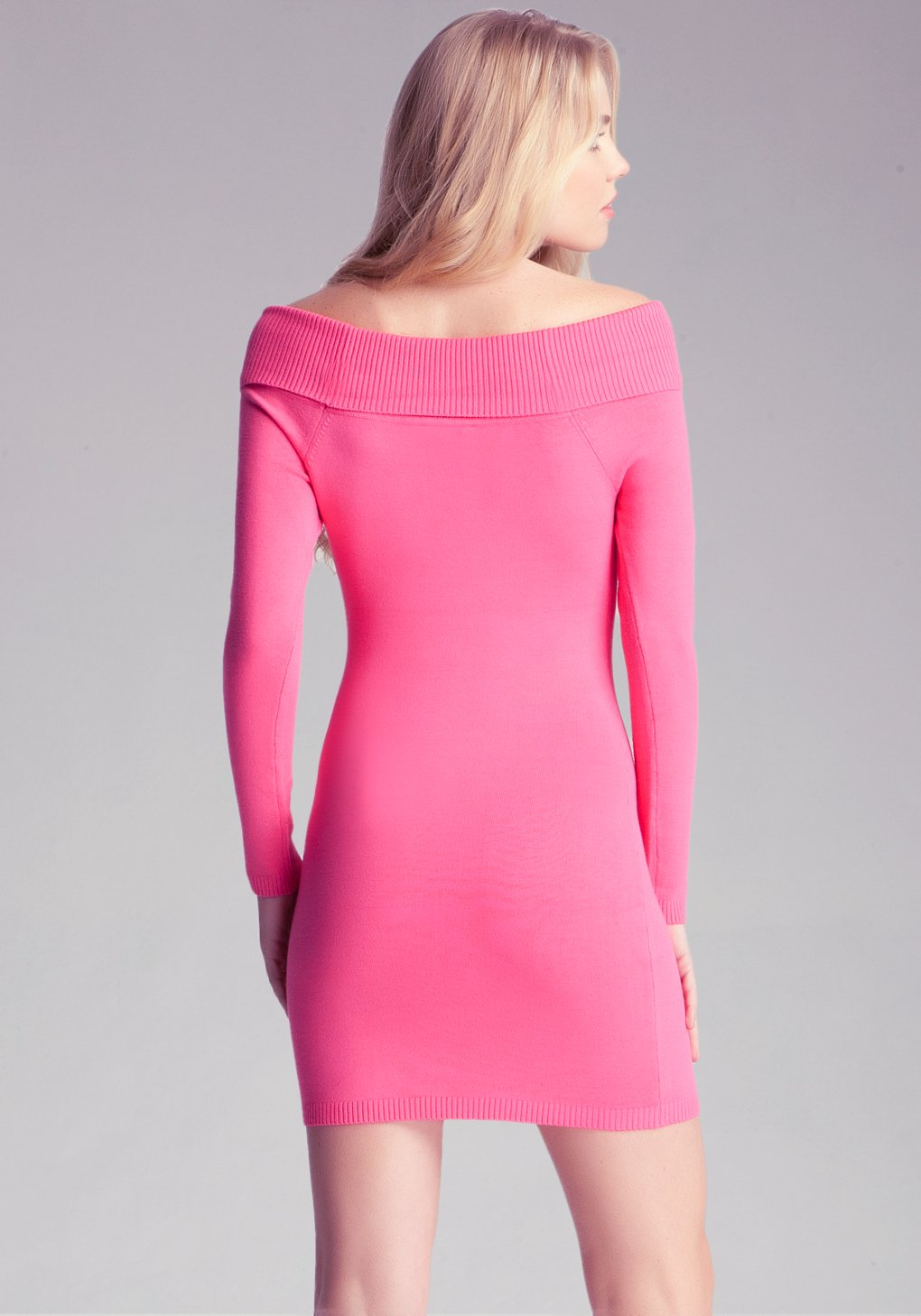 cba4c0a800 Bebe Off Shoulder Sweater Dress in Pink - Lyst