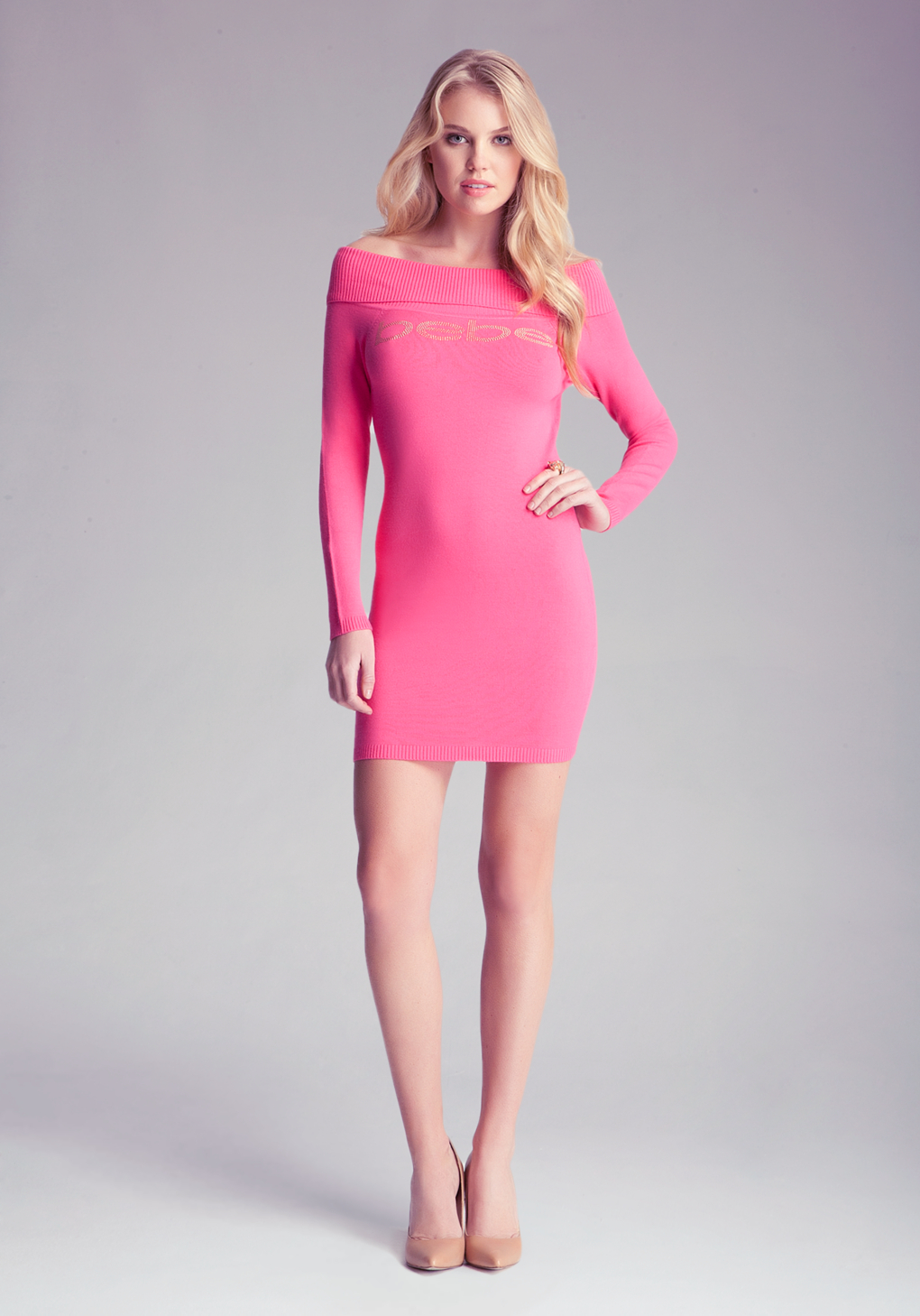Bebe Off Shoulder Sweater Dress in Pink | Lyst