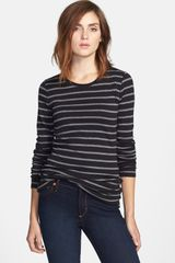 Caslon® Long Sleeve Fine Ribbed Crew Neck Tee - Lyst
