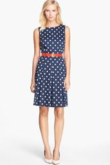 Tahari Belted Polka Dot Fit Flare Dress - Lyst