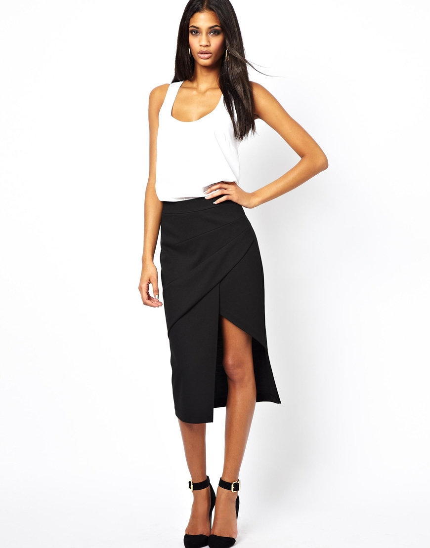 Asos Pencil Skirt with Pleat Front and Side Split in Black | Lyst