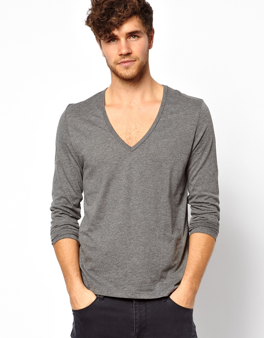 Lyst - ASOS Long Sleeve Tshirt with Deep V Neck in Gray for Men ffd42e653
