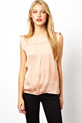 Asos Top with Pleat Front and Folded Sleeve - Lyst