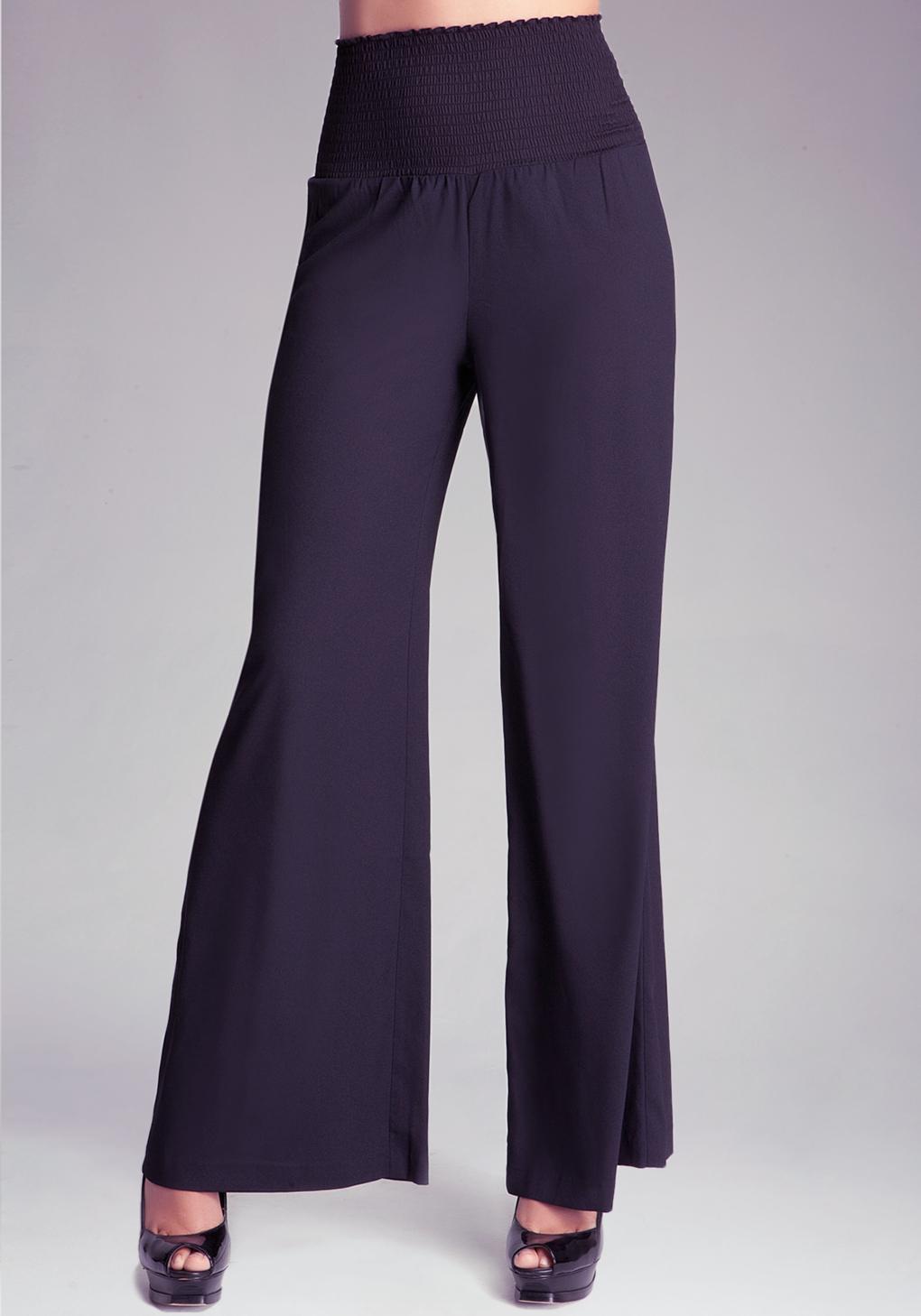 Bebe Wide Leg Smocked Waist Pant in Black   Lyst