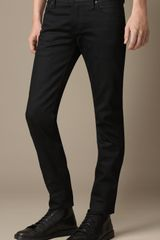 Burberry Steadman Black Selvedge Slim Fit Jeans - Lyst