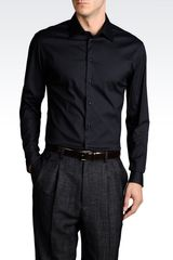 Emporio Armani Stretch Cotton Shirt - Lyst