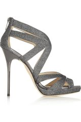 Jimmy Choo Glitterfinished Leather Sandals - Lyst