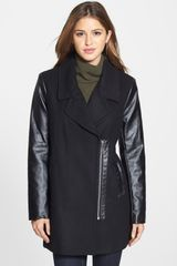 Kensie Faux Leather Sleeve Asymmetrical Coat - Lyst