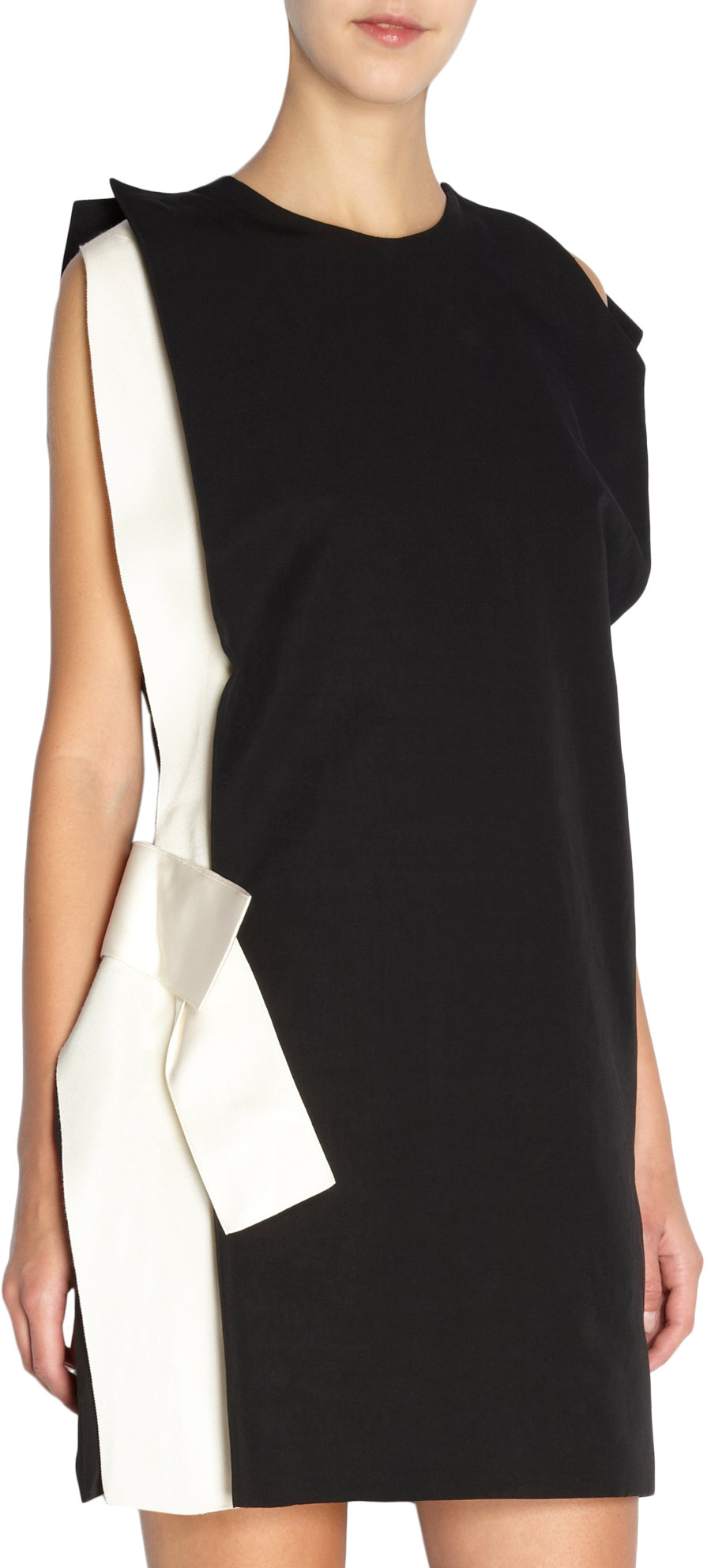 Lyst Lanvin Open Shoulder Side Bow Dress In White