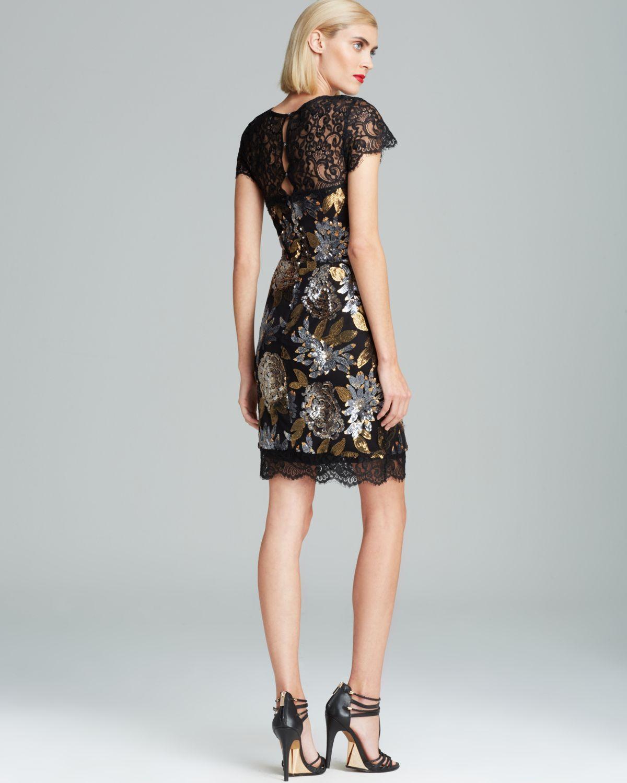 Nicole miller Lace Neckline Metallic Floral Sequin Dress Cap ...