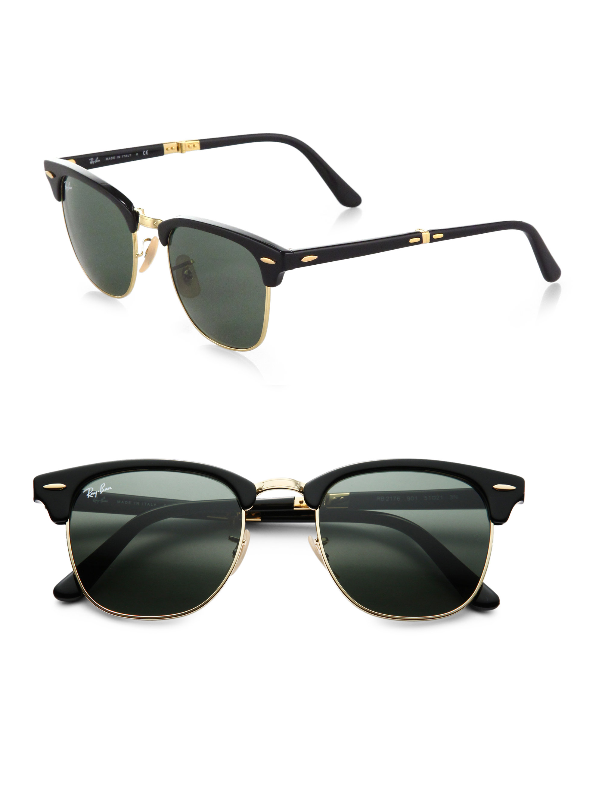 ray ban foldable clubmaster sunglasses  gallery. previously sold at: saks fifth avenue · women's clubmaster sunglasses women's ray ban clubmaster