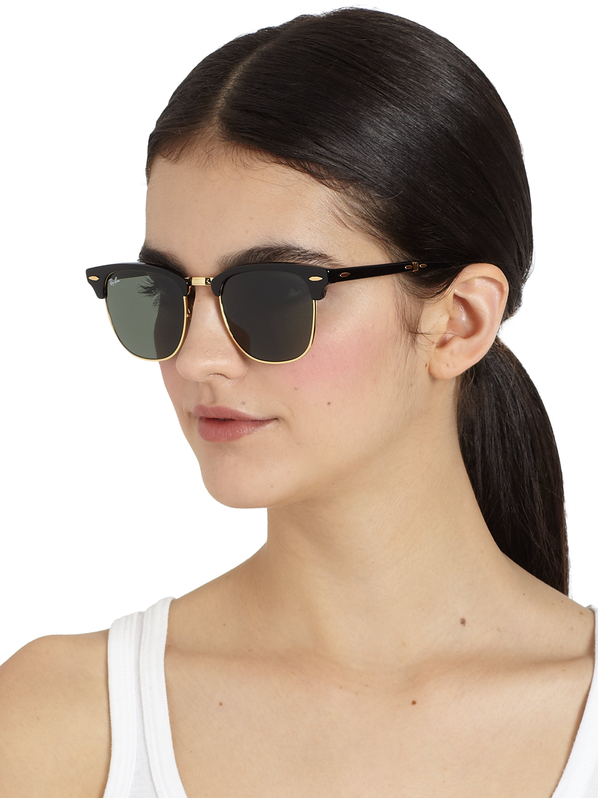 Clubmaster Sunglasses Ray Ban  ray ban folding clubmaster sunglasses in black lyst