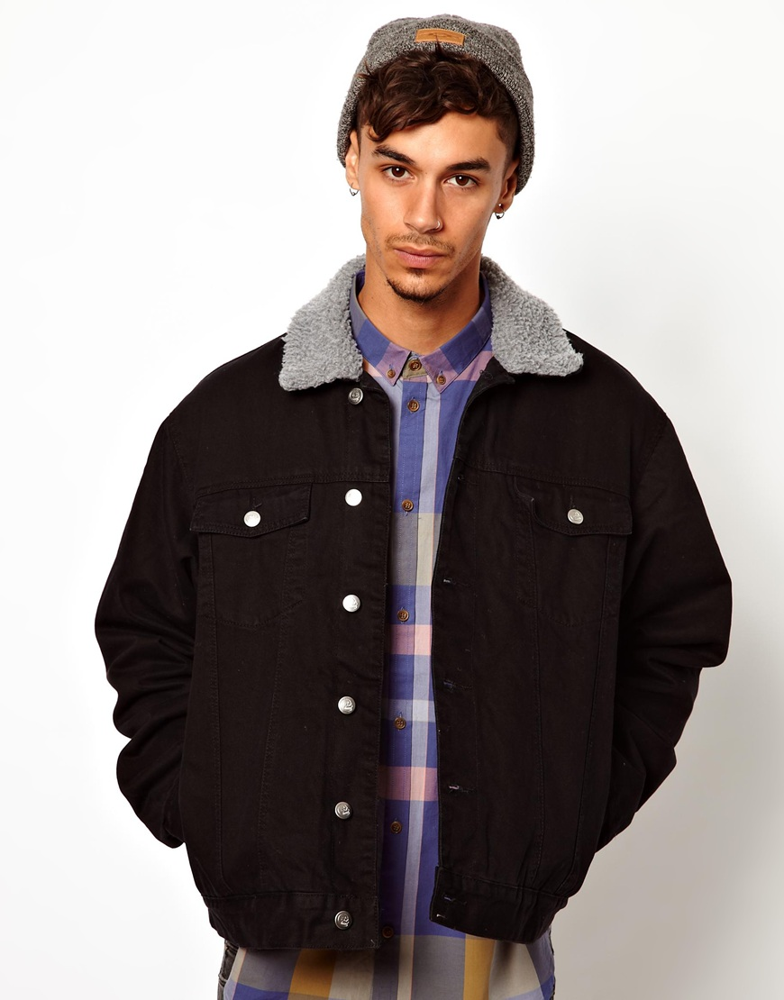 Cheap monday Denim Jacket with Borg Collar in Black for Men | Lyst
