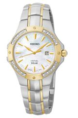 Seiko  Two Tone Stainless Steel Solar Watch with Diamond Bezel - Lyst