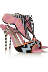 Sophia Webster Leilou Stripe Leather Suede and Canvas Sandals - Lyst