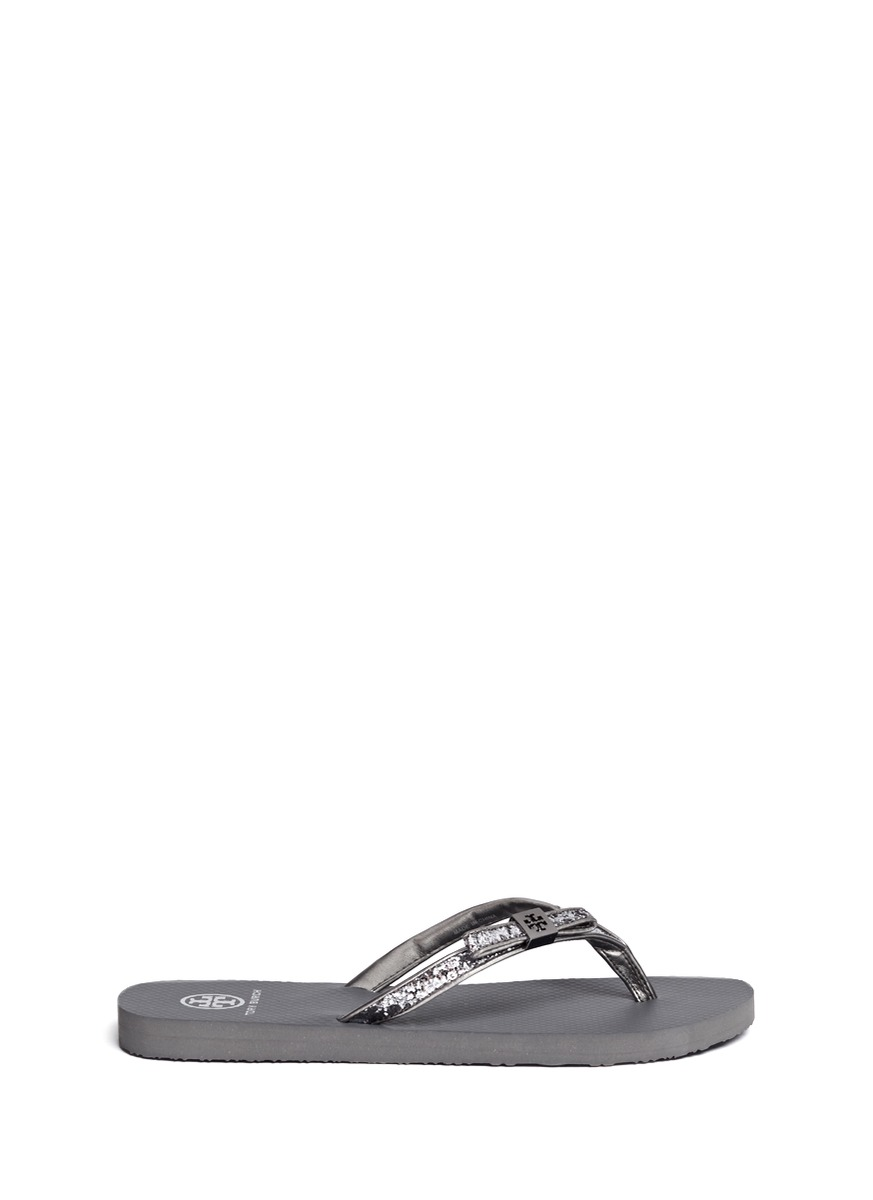 825e8c7272580d Lyst - Tory Burch Carey Glitter Bow Flip-flops in Gray